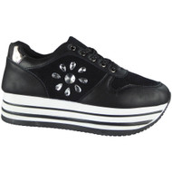Rosemary Black Wedges Lace Up Trainers