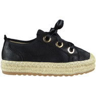 Mabel Black Ribbon Lace up Trainerss