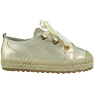 Mabel Gold Ribbon Lace up Trainers