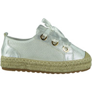 Mabel White Ribbon Lace up Trainers