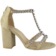 Camelia Beige T-Bar High Heel  Sandals