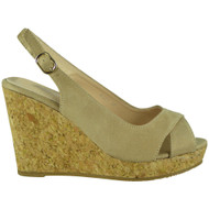 Isabel Beige Platform Wedge Sandals