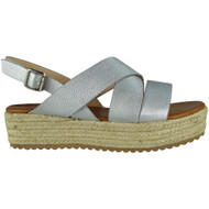 Teri Silver Slingback Wedge Sandals