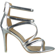 Demi Silver Zip Stiletto  Sandals