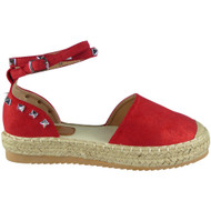Ivy Red Studded Ankle Strap Sandals