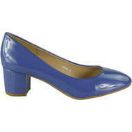Daphne Blue Mid Heel Patent Court Shoes