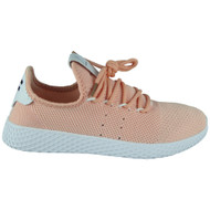 Ashe Pink Lace Up Flat Trainers
