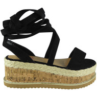 Amanda Black Lace Up Espadrilles Wedge Sandals