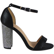 Zoey Black Diamante Block Heel Sandals