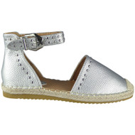 Savannah Silver Studded Ankle Strap Espadrilles