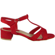 Camila Red T- Bar Strap Suede Sandals