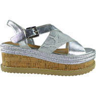 Serenity Silver  Peep Toes Summer Sandals