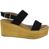 Makayla Black Sling Back Buckle Sandals