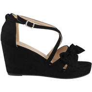 Mckenzie Black Peep Toes Wedding Sandals