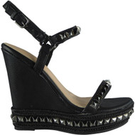 Abigail All Black Studded Ankle Strap Sandals