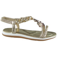 Lorelei Gold Elastic Strap Sandals