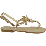 Maliyah Champagne Flat Diamante Bling Sandals