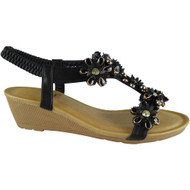 Kassidy Black Elastic Strap Wedge Sandals