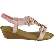 Kassidy Pink Elastic Strap Wedge Sandals