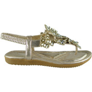 PENNY Gold Elastic Strap Comfy Flat Bling Summer Peep-toe Sandals