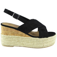 Cori Black Cork Strappy  Platform Wedge Sandals