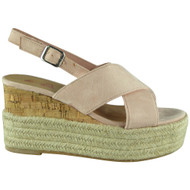 Cori Pink Cork Strappy  Platform Wedge Sandals