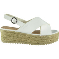 Brynlee White Sling Back Platform Sandals