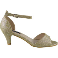 Sloane Gold Glitter Peep Toe Sandals
