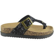 CEILA Black Comfy Sequin Slip On Sliders