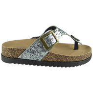 CEILA Silver Comfy Sequin Slip On Sliders