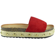 SELMA Red Comfy Studded Slip On Slides Wedges