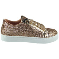 TRACY Champagne Trainers Lace Up Comfy Sports Shoes
