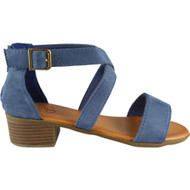 Nalani Navy Peep Toe Buckle Sandals