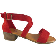 Nalani Red Peep Toe Buckle Sandals