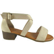 Nalani Beige Peep Toe Buckle Sandals