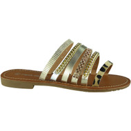 Dalary Gold Studded Flat Sliders