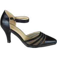 DINAH Black Diamante Heels Wedding Shoes