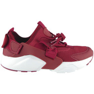Paislee Wine Lace Up Flat Fitness Trainers