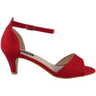 Felicity Red Kitten Heel Buckle Sandals