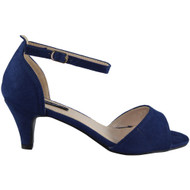 Felicity Blue Kitten Heel Buckle Sandals