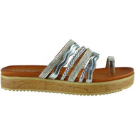Frida Silver Flat Studded Summer Sliders