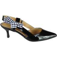 Patty Black Patent Kitten Heel Shoes