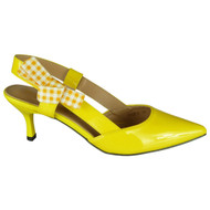 Patty Yellow Patent Kitten Heel Shoes