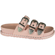 Caren Pink Buckle Studded Sliders