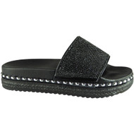Filla Black Summer Bling Studded Sliders