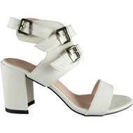 Irma White Peep-Toe Party Sandals
