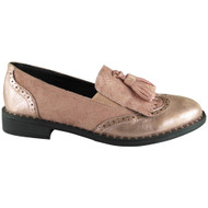 Izzy Pink Tassle Brogue Loafers Shoes
