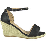 Isla Black Ankle Strap Wedge Sandals