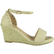 Isla Beige Ankle Strap Wedge Sandals