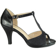Glenda Black Glitter Party Shoes